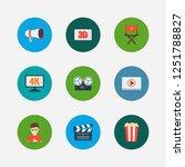 cinema icons set. play video...