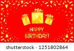 happy birthday  greeting card.... | Shutterstock . vector #1251802864