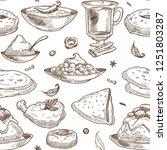 indian cuisine sketch pattern... | Shutterstock .eps vector #1251803287