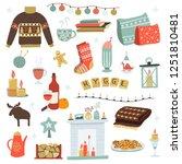 vector hygge cozy home warm... | Shutterstock .eps vector #1251810481