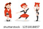 set of  cute vector girls ... | Shutterstock .eps vector #1251818857