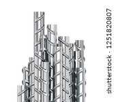 Reinforcing steel bars stacked group. Metal building armature on white background. 3D illustration - stock photo