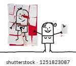 cartoon woman with last missing ... | Shutterstock . vector #1251823087