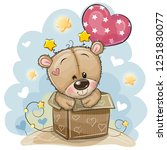 birthday card with a cute teddy ... | Shutterstock .eps vector #1251830077