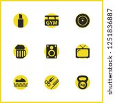 healthy icons set with weight ...