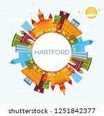 hartford connecticut usa... | Shutterstock . vector #1251842377
