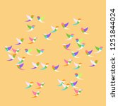 stylized colorful flying birds... | Shutterstock .eps vector #1251844024
