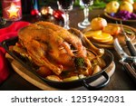 roast christmas duck with thyme ... | Shutterstock . vector #1251942031