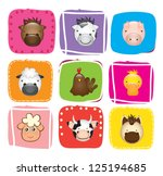 different animals over colors... | Shutterstock .eps vector #125194685