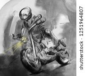 on the highway  motorcycle... | Shutterstock . vector #1251964807
