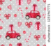 seamless pattern with red car....   Shutterstock . vector #1251967771