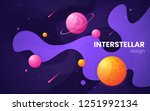 cartoon galaxy futuristic outer ... | Shutterstock .eps vector #1251992134