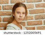 beautiful little girl with ... | Shutterstock . vector #1252005691