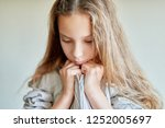 little beautiful sad girl with... | Shutterstock . vector #1252005697