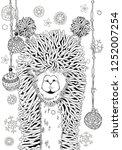 new year winter llama. coloring ... | Shutterstock .eps vector #1252007254