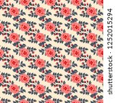 floral pattern with one stroke... | Shutterstock .eps vector #1252015294