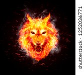 head of aggressive fire woolf.... | Shutterstock . vector #1252036771