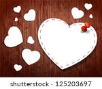paper hearts on a wooden...   Shutterstock .eps vector #125203697