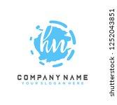 h n initial handwriting logo... | Shutterstock .eps vector #1252043851