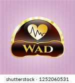 gold shiny badge with heart... | Shutterstock .eps vector #1252060531