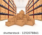 warehouse shelves filled with... | Shutterstock . vector #1252078861