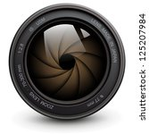 camera photo lens with shutter. | Shutterstock .eps vector #125207984