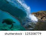 blue ocean wave breaking with... | Shutterstock . vector #125208779