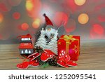 christmas ornaments on abstract ...   Shutterstock . vector #1252095541