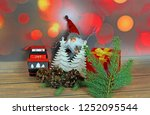 christmas ornaments on abstract ...   Shutterstock . vector #1252095544