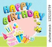 illustration of happy birthday... | Shutterstock .eps vector #125210759