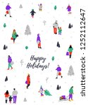 happy holidays greeting card... | Shutterstock .eps vector #1252112647