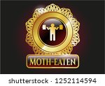 golden emblem with squat icon... | Shutterstock .eps vector #1252114594