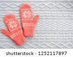 Warm Woolen Mittens On Knitted...