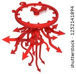 red symbolic time arrow clock...   Shutterstock . vector #1252141894