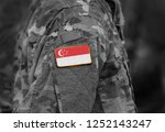 flag of singapore on soldier... | Shutterstock . vector #1252143247