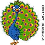 peacock cartoon | Shutterstock . vector #125215085