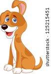 funny puppy cartoon | Shutterstock .eps vector #125215451