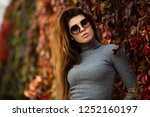 portrait of long haired woman... | Shutterstock . vector #1252160197