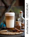 delicious layered cappuccino or ...   Shutterstock . vector #1252181467