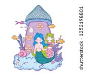 couple mermaids with castle... | Shutterstock .eps vector #1252198801