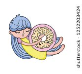 Little Girl With Sweet Donut...