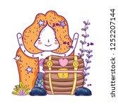 mermaid with treasure chest... | Shutterstock .eps vector #1252207144