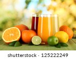 Glasses Of Juise With Leafs An...