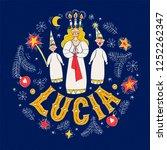 happy lucia day handwritten...   Shutterstock .eps vector #1252262347