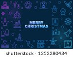 vector merry christmas colored... | Shutterstock .eps vector #1252280434