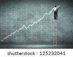 businessman standing on ladder... | Shutterstock . vector #125232041