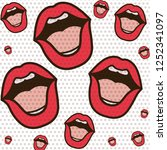 open mouth pattern isolated icon | Shutterstock .eps vector #1252341097