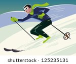 Mountain Skier Slides From The...