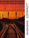 dark silhouettes railway... | Shutterstock . vector #1252404277