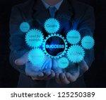 businessman hand shows gear... | Shutterstock . vector #125250389